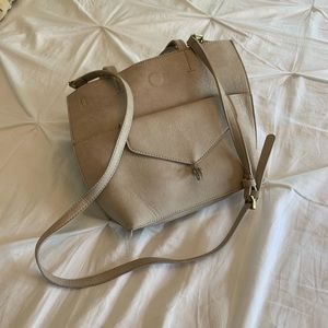 Cream Anthropologie handbag
